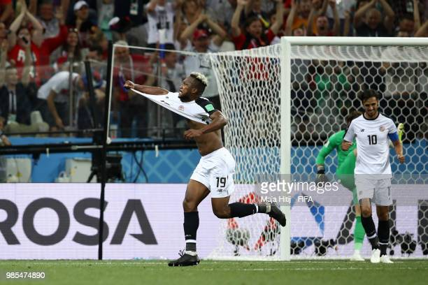 Kendall Waston of Costa Rica celebrates after scoring his team's first goal during the 2018 FIFA World Cup Russia group E match between Switzerland...