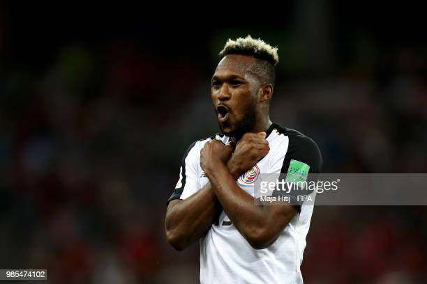 Kendall Waston of Costa Rica celebrates scoring his sides opening goal to make the score 1-1 during the 2018 FIFA World Cup Russia group E match...