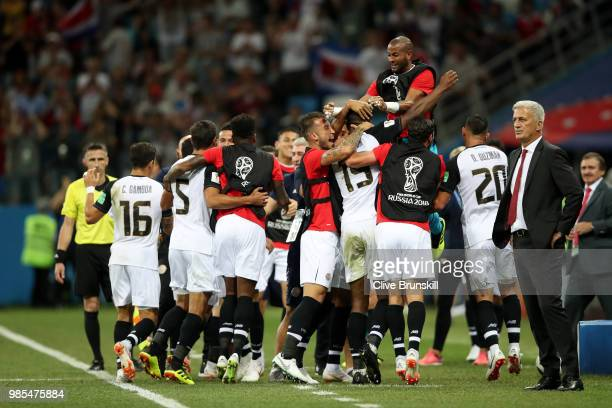 Kendall Waston of Costa Rica celebrates with teammates after scoring his team's first goal during the 2018 FIFA World Cup Russia group E match...
