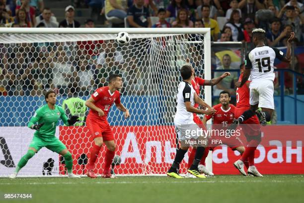 Kendall Waston of Costa Rica scores his sides opening goal to make the score 1-1 during the 2018 FIFA World Cup Russia group E match between...