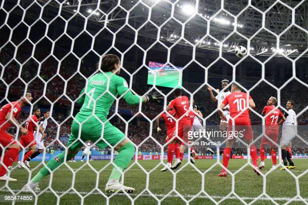 Kendall Waston of Costa Rica scores his sides opening goal to make the score 11 during the 2018 FIFA World Cup Russia group E match between...