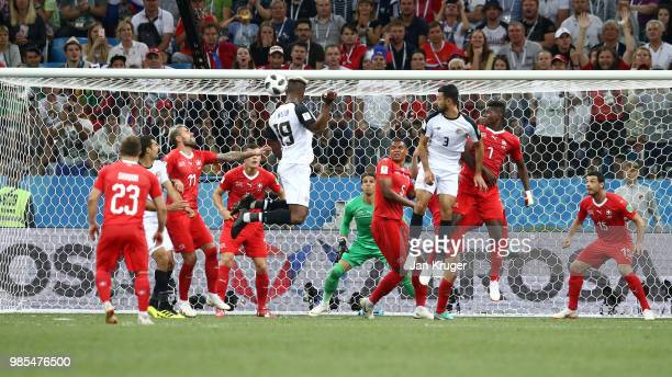 Kendall Waston of Costa Rica scores his team's first goal during the 2018 FIFA World Cup Russia group E match between Switzerland and Costa Rica at...