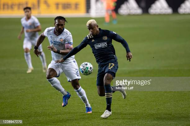 Kendall Waston of FC Cincinnati and Sergio Santos of Philadelphia Union battle for the ball in the first half at Subaru Park on October 7 2020 in...