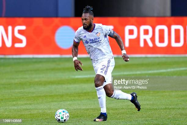 Kendall Waston of FC Cincinnati dribbles the ball during a game between FC Cincinnati and Chicago Fire at Soldier Field on August 25, 2020 in...