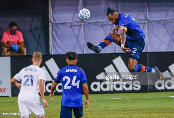 Kendall Waston of FC Cincinnati leaps for the ball during the game against the Chicago Fire at Nippert Stadium on September 1 2020 in Cincinnati Ohio