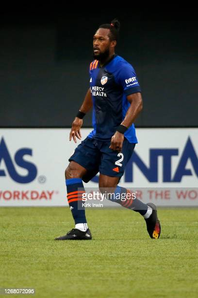 Kendall Waston of FC Cincinnati runs after the ball during the match against DC United at Nippert Stadium on August 21, 2020 in Cincinnati, Ohio.