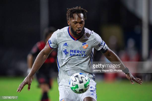 Kendall Waston of FC Cincinnati stops the ball during a game between New York Red Bulls and FC Cincinnati at Wide World of Sports on July 22, 2020 in...