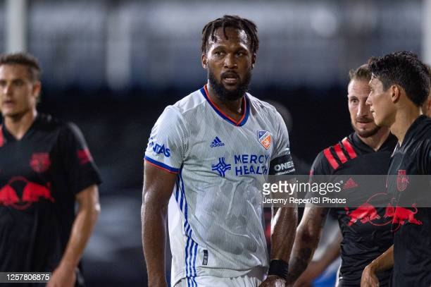 Kendall Waston of FC Cincinnati waits for the free kick during a game between New York Red Bulls and FC Cincinnati at Wide World of Sports on July...