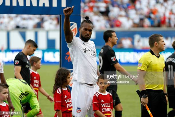 Kendall Watson of the FC Cincinnati waves to the fans before the game against the D.C. United at Nippert Stadium on July 18, 2019 in Cincinnati, Ohio.