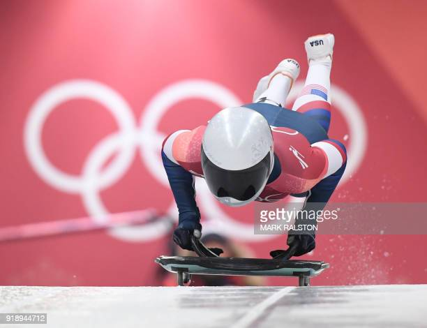 US Kendall Wesenberg competes in the women's skeleton heat 1 run during the Pyeongchang 2018 Winter Olympic Games at the Olympic Sliding Centre on...