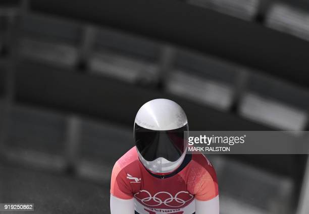 US Kendall Wesenberg competes in the women's skeleton heat 3 run during the Pyeongchang 2018 Winter Olympic Games at the Olympic Sliding Centre on...