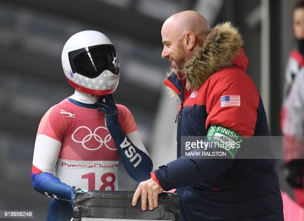 US Kendall Wesenberg looks on after finishing the women's skeleton heat 2 run during the Pyeongchang 2018 Winter Olympic Games at the Olympic Sliding...