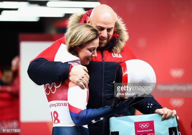 Kendall Wesenberg of the United States is embraced after her final run during the Women's Skeleton on day eight of the PyeongChang 2018 Winter...