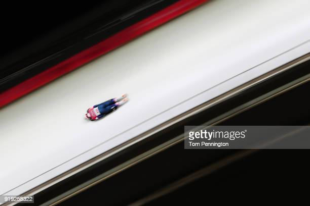 Kendall Wesenberg of the United States makes a run during the Women's Skeleton on day eight of the PyeongChang 2018 Winter Olympic Games at Olympic...