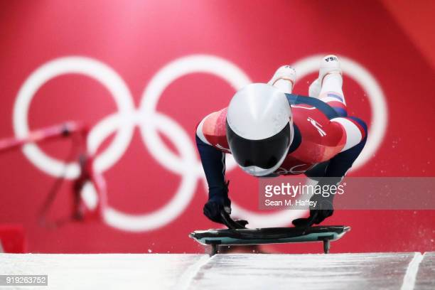 Kendall Wesenberg of the United States makes her final run during the Women's Skeleton on day eight of the PyeongChang 2018 Winter Olympic Games at...