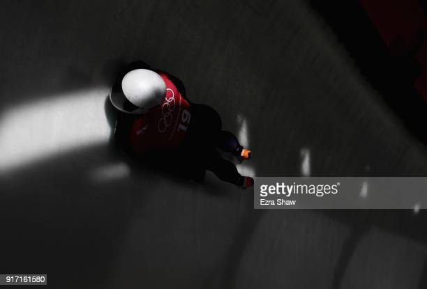 Kendall Wesenberg of the United States slides down the track during women skeleton training at Olympic Sliding Centre on February 12, 2018 in...