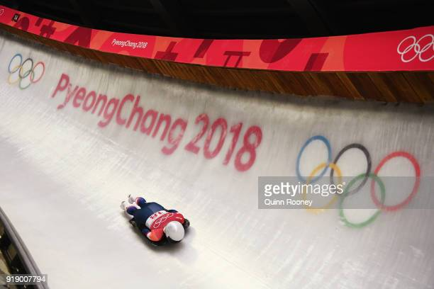 Kendall Wesenberg of the United States slides during the Women's Skeleton at Olympic Sliding Centre on February 16 2018 in Pyeongchanggun South Korea