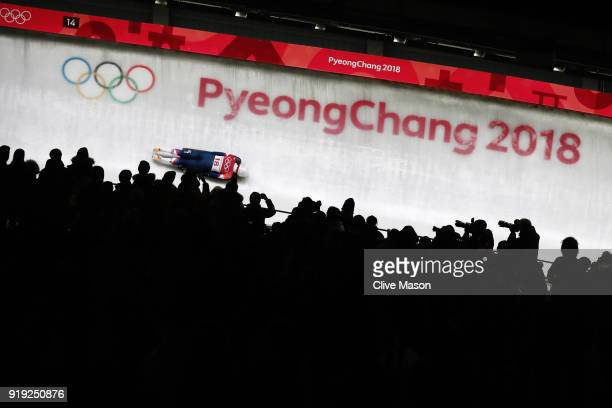 Kendall Wesenberg of the United States slides during the Women's Skeleton heat three on day eight of the PyeongChang 2018 Winter Olympic Games at...