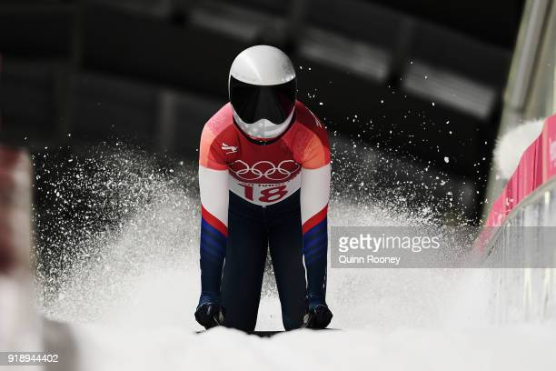 Kendall Wesenberg of the United States slides into the finish area during the Women's Skeleton heat one at Olympic Sliding Centre on February 16 2018...