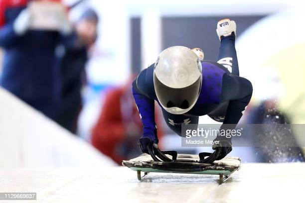 Kendall Wesenberg of the United States starts her slide during a training session ahead of 2019 IBSF World Cup Bobsled & Skeleton at the Mt. Van...