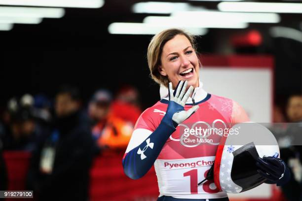 Kendall Wesenberg of the United States waves after her final run during the Women's Skeleton on day eight of the PyeongChang 2018 Winter Olympic...