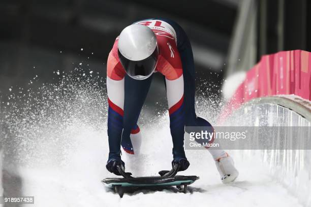Kendall Wesenberg of the United Statesa slides into the finish area during the Women's Skeleton heat two at Olympic Sliding Centre on February 16...