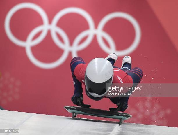 Kendall Wesenberg of the US starts her womens skeleton training session at the Olympic Sliding Centre during the Pyeongchang 2018 Winter Olympic...