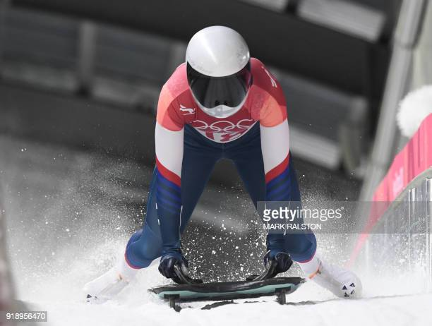 US Kendall Wesenberg slows down at the end of the women's skeleton heat 2 run during the Pyeongchang 2018 Winter Olympic Games at the Olympic Sliding...