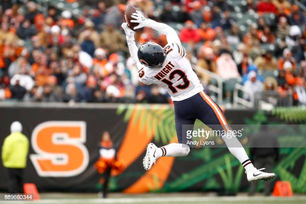 Kendall Wright of the Chicago Bears makes a catch against the Cincinnati Bengals during the second half at Paul Brown Stadium on December 10 2017 in...