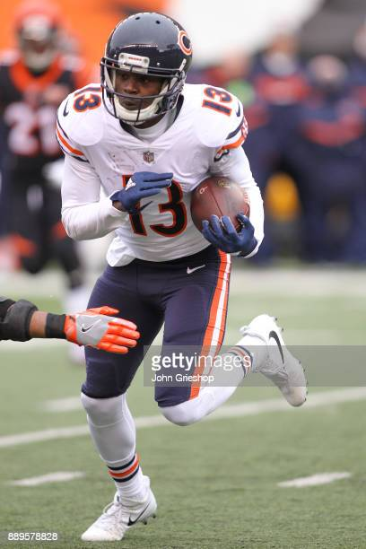 Kendall Wright of the Chicago Bears runs with the ball after a reception against the Cincinnati Bengals during the first half at Paul Brown Stadium...