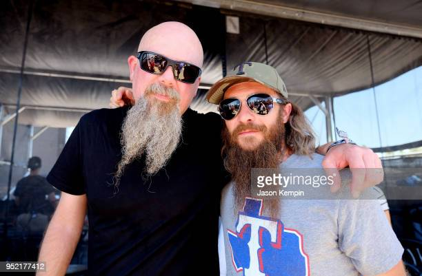 Kendell Marvel and Cody Jinks pose backstage during 2018 Stagecoach California's Country Music Festival at the Empire Polo Field on April 27, 2018 in...