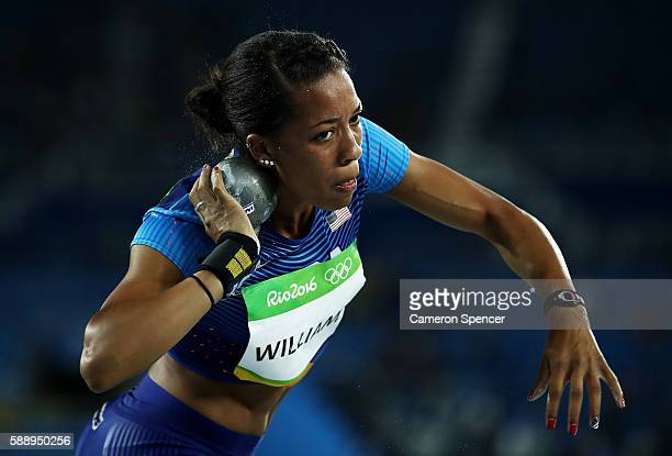 Kendell Williams of the United States during the Women's Heptathlon Shot Put Qualifying Round Group B on Day 7 of the Rio 2016 Olympic Games at the...