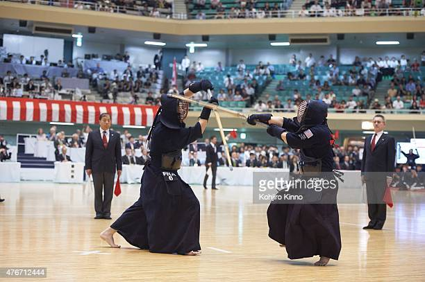 16th World Kendo Championship France Guillaume Monlezun in action vs USA Danny Yang during Men's Individual match at Nippon Budokan Tokyo Japan...
