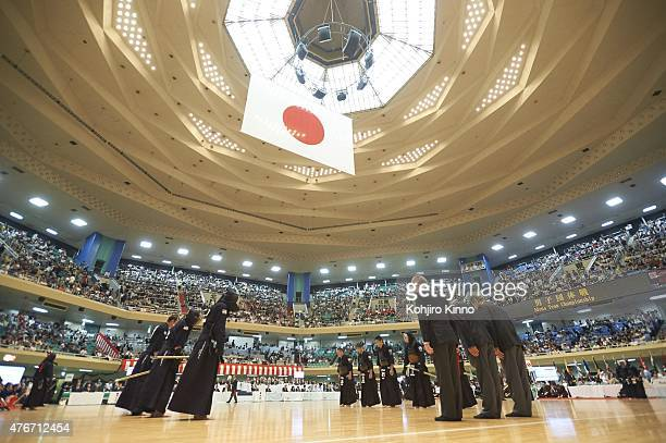 16th World Kendo Championship Members of Team USA and Team Malaysia bow before Men's Team matches at Nippon Budokan Tokyo Japan 5/31/2015 CREDIT...