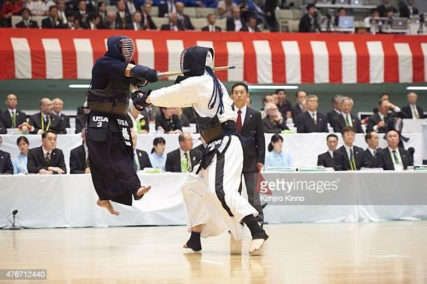 16th World Kendo Championship South Korea Man Uk Jang in action vs USA Danny Yang during Men's Team Semifinals match at Nippon Budokan Tokyo Japan...