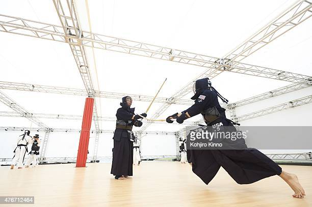 16th World Kendo Championship Team USA Simon Yoo and Jason Brown warm up before Men's Individual matches at Nippon Budokan Tokyo Japan 5/29/2015...