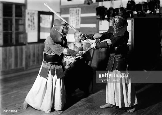 Kendo martial arts practiced by two japanese men during 1930 in Japan