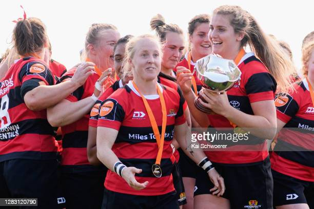 Kendra Cocksedge and captain Alana Bremner of Canterbury celebrate with the Farah Palmer Cup after the win in the Farah Palmer Cup Final between...