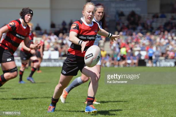 Kendra Cocksedge of Canterbury kicks the ball during the Farah Palmer Cup Final between Canterbury and Auckland at Rugby Park on October 26 2019 in...