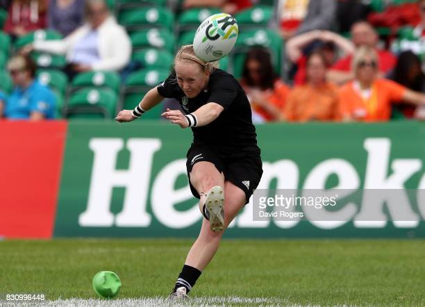 Kendra Cocksedge of New Zealand kicks a conversion during the Women's Rugby World Cup 2017 match between New Zealand and Hong Kong on August 13 2017...