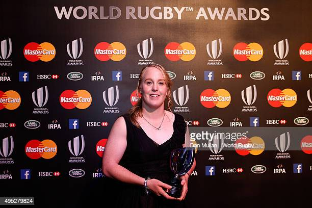 Kendra Cocksedge of New Zealand poses after receiving the Women's Player of the Year award during the World Rugby Awards 2015 at Battersea Evolution...