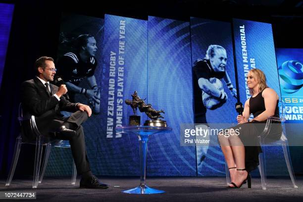 Kendra Cocksedge of the Black Ferns is interviewed on stage during the 2018 ASB Rugby Awards at SkyCity Convention Centre on December 13 2018 in...