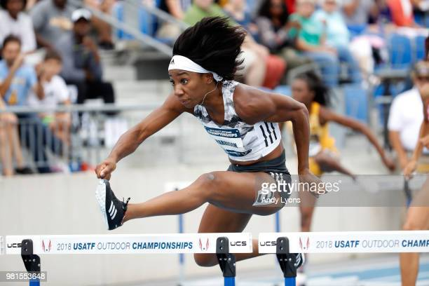 Kendra Harrison clears a hurdle in the Womens 100 Meter Hurdles during day 2 of the 2018 USATF Outdoor Championships at Drake Stadium on June 22 2018...