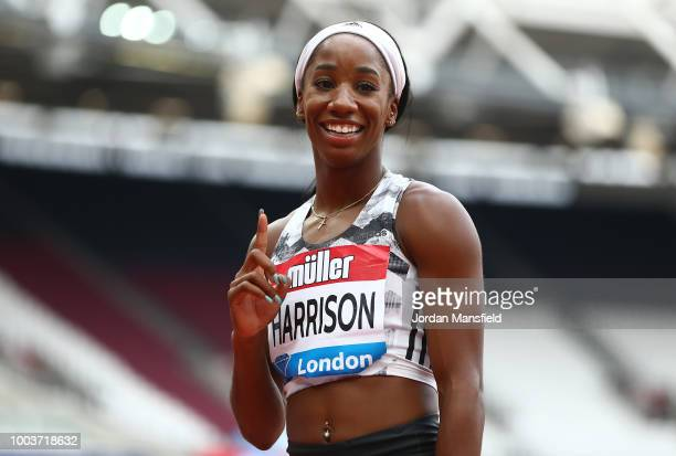 Kendra Harrison of The United States celebrates victory following the Women's 100m Hurdles during Day Two of the Muller Anniversary Games at London...