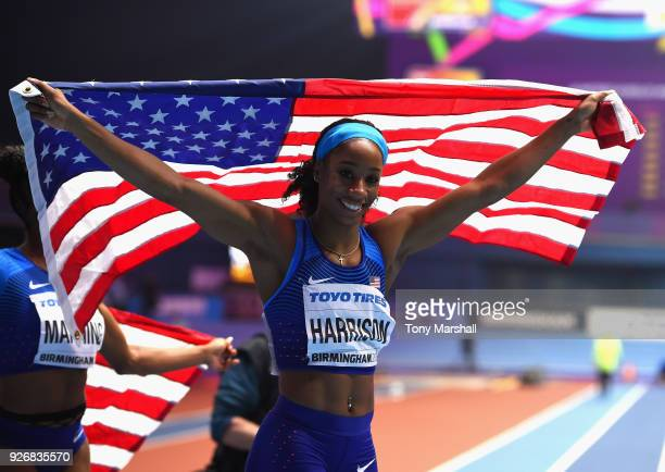 Kendra Harrison of the United States celebrates winning the Women's 60m Hurdles Final during Day Three of the IAAF World Indoor Championships at...