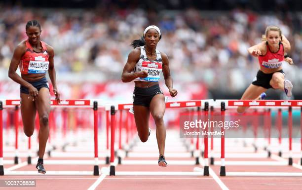 Kendra Harrison of The United States competes on her way to victory in Heat 1 of the Women's 100m Hurdles during Day Two of the Muller Anniversary...