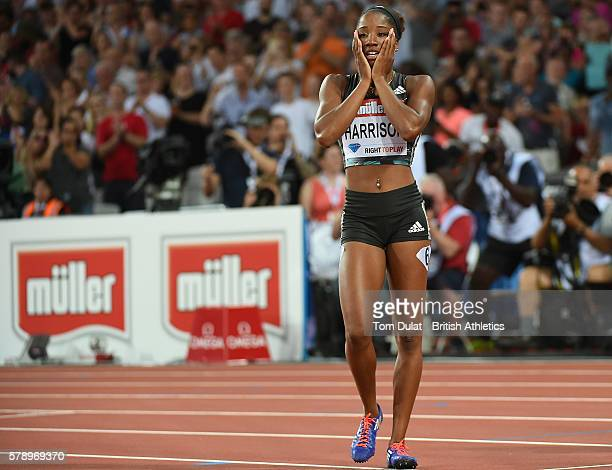 Kendra Harrison of the U.S. Celebrates after setting a new world record in the womens 100m hurdles during Day One of the Muller Anniversary Games at...