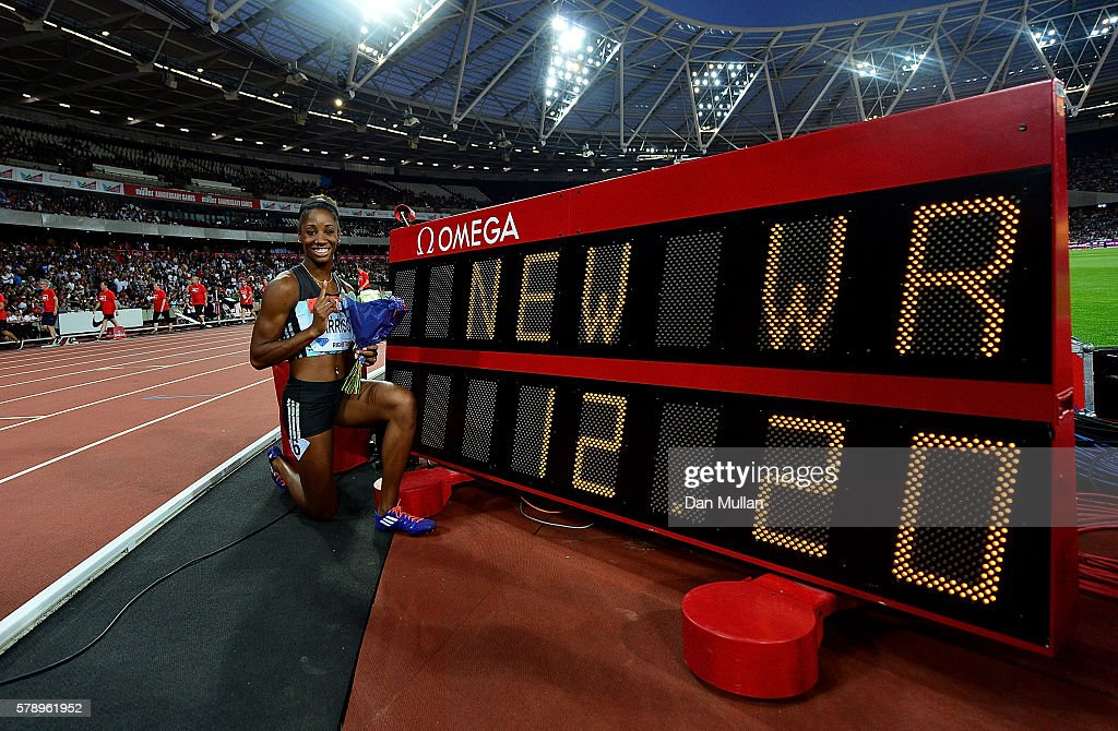 Kendra Harrison of The USA celebrates after setting a new world record in the womens 100m hurdles during Day One of the Muller Anniversary Games at The Stadium - Queen Elizabeth Olympic Park on July 22, 2016 in London, England.
