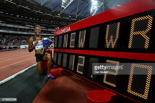 Kendra Harrison of The USA celebrates after setting a new world record in the womens 100m hurdles during Day One of the Muller Anniversary Games at...