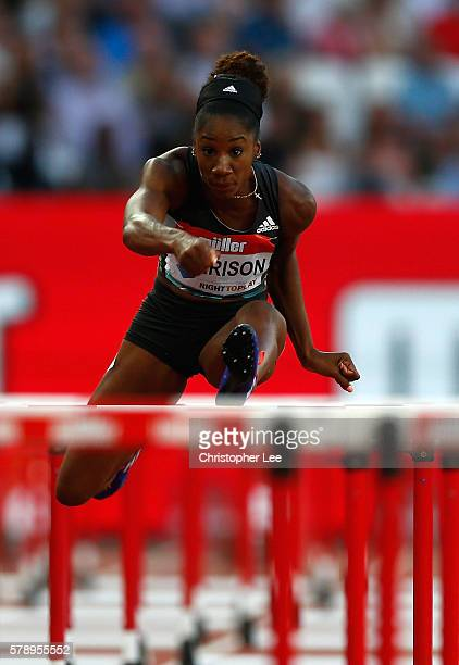 Kendra Harrison of The USA in action during her 100m hurdles heat on Day One of the Muller Anniversary Games at The Stadium Queen Elizabeth Olympic...